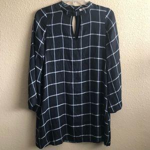 Ann Taylor Black White Striped Long Sleeve Dress